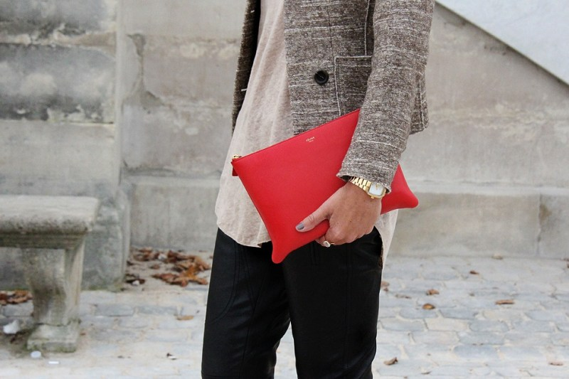 girl holding red celine clutch