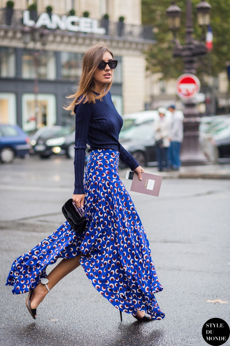Patricia manfield street style in a blue monochromatic outfit