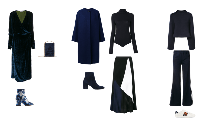 Layout of blue monochromatic outfits