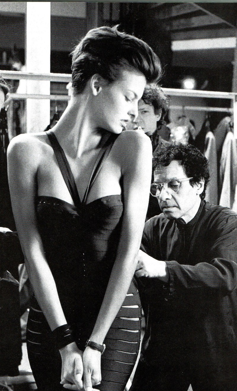 iconic photo of french designer Azzedine Alaïa with model