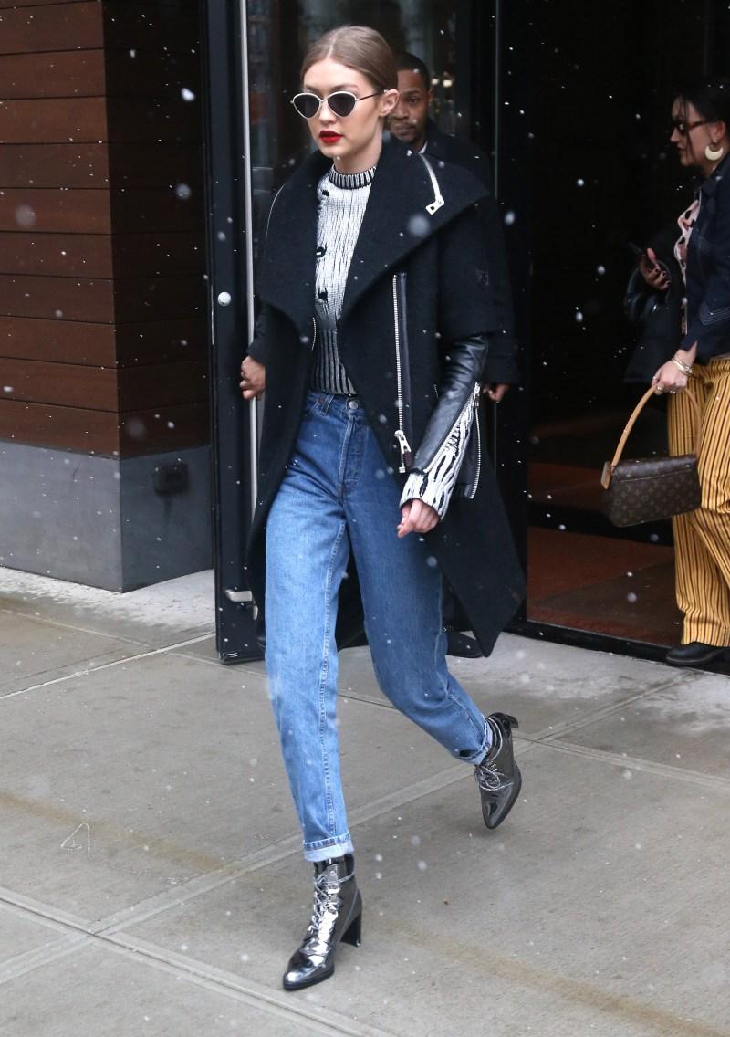 Gigi hadid street style metallic boots