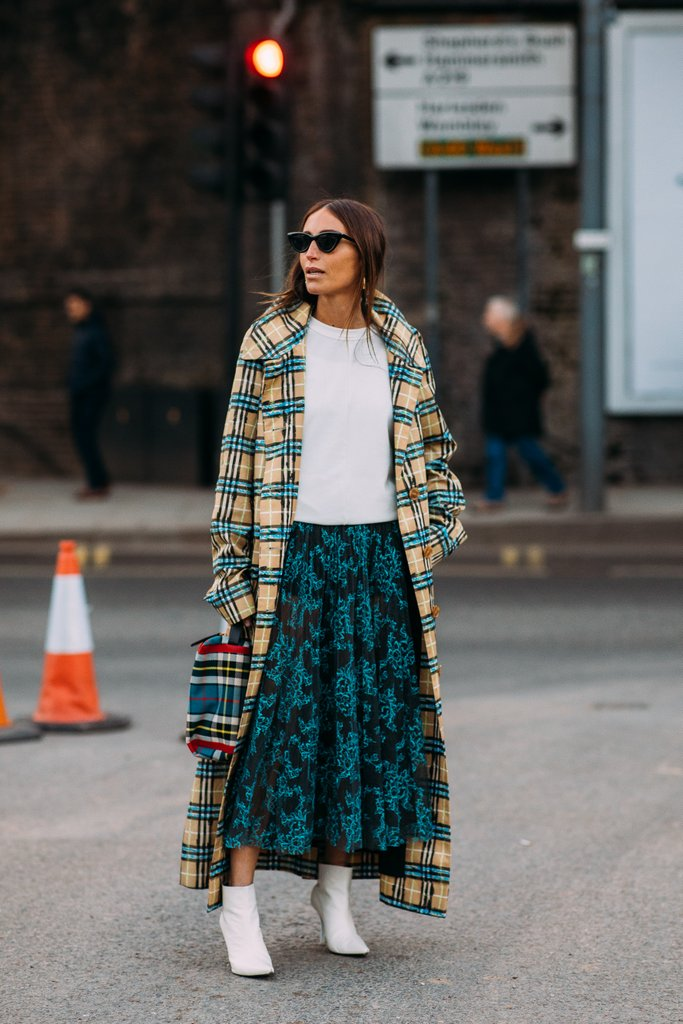 Street style shot of blogger at london fashion week in check jacket, white shirt, green skirt and white booties