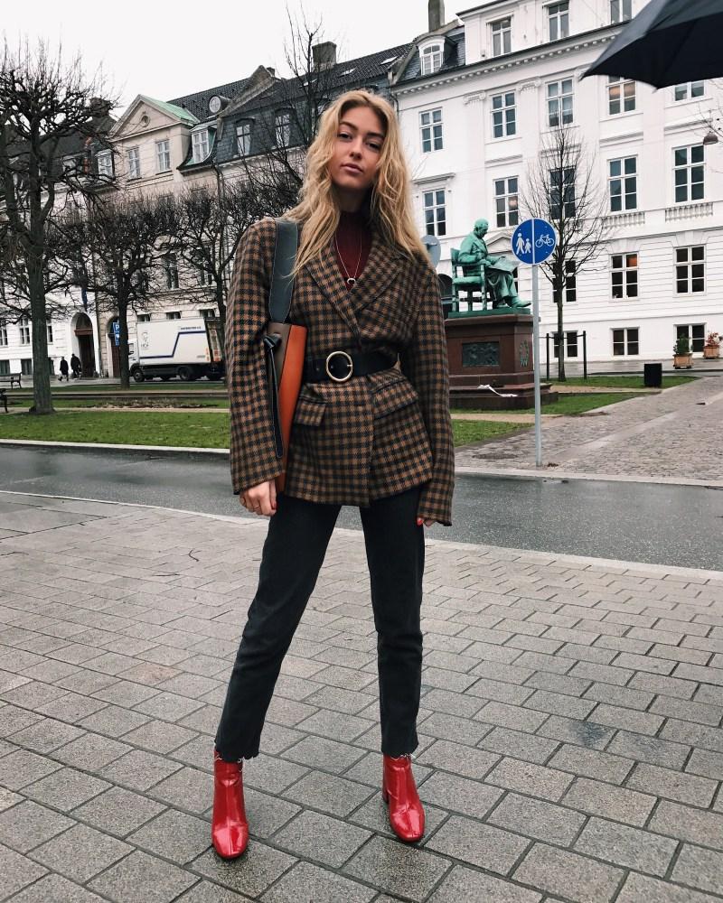 belted blazer street style