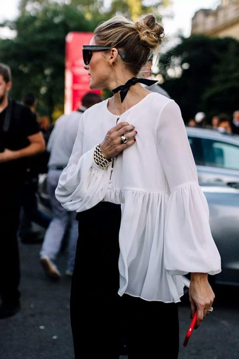 olivia palermo in pleated shirt