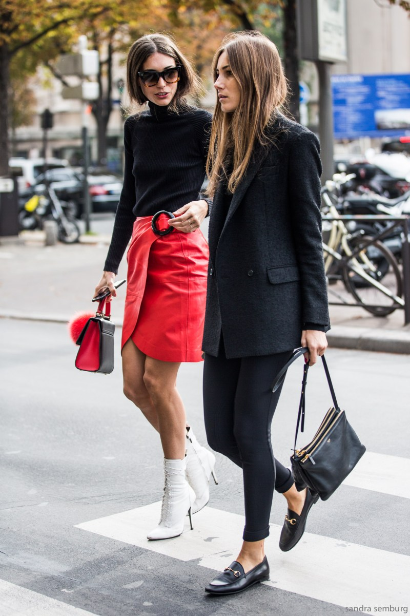 Street style shot of giorgia tordini and gilda ambrosio at fashion week