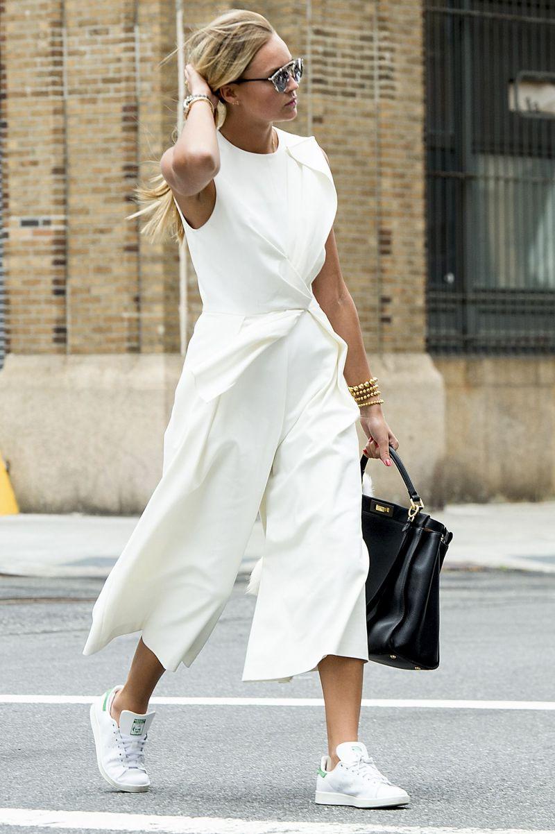 street style shot of girl wearing white dress