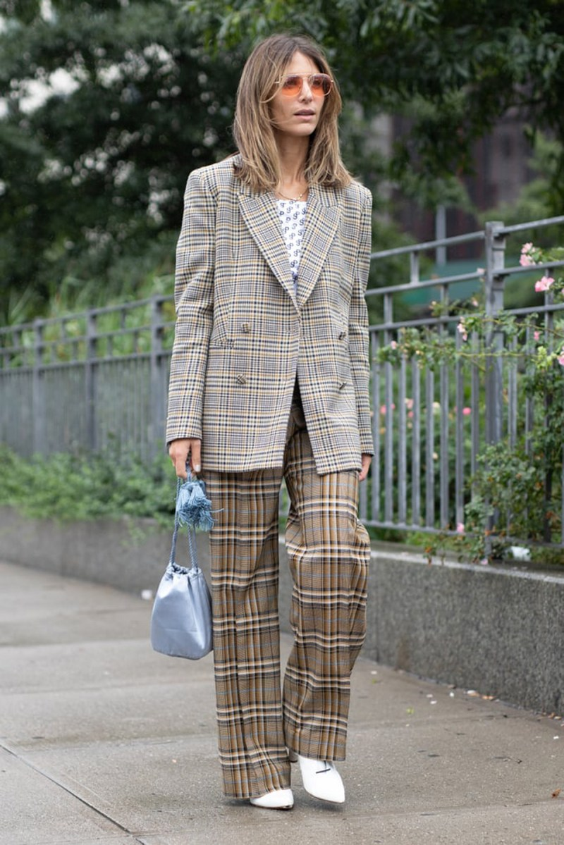 street style image nyfw of woman wearing plaids