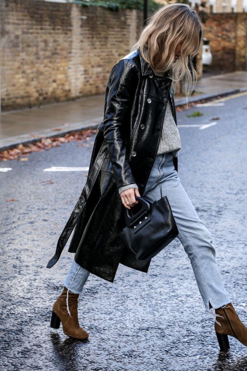 Street style shot of giorgia tordini in patent blue trench coat jacket