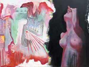 A topless woman holding a butterfly on her face next to abstract shapes