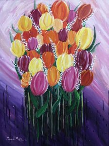A painting of several multi colored tulips all together