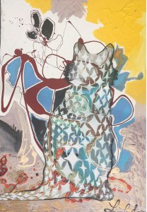 An abstract painting of a cat silhouette with reds yellows and blues