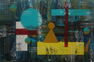 An abstract painting with greenish blue and orange yellow hues and shapes