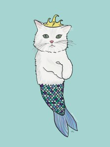 A white cat dressed up as a mermaid