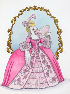 A white crow in a very large pink dress and holding a fan