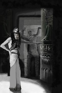 A black and white print of a woman with a mummy standing behind her