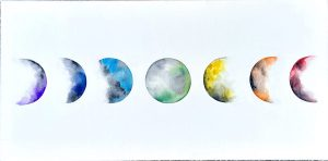 seven circular forms in a line right to left making a rainbow spectrum of colors