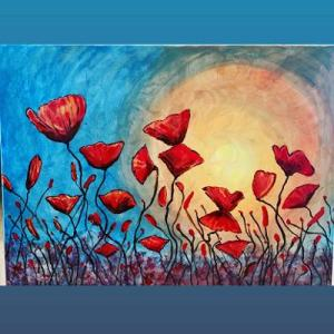An acrylic painting of red poppies in front of the sun