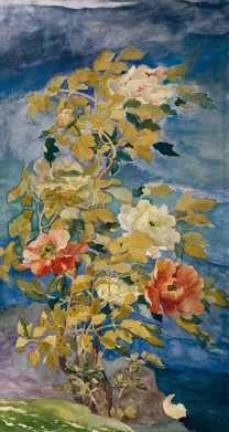 Peonies in a Breeze, 1890. John La Farge, American, 1835 1910. Watercolor and gouache on paper, 37 × 20 1/2 inches. Courtesy Crystal Bridges Museum of American Art, Bentonville, Arkansas