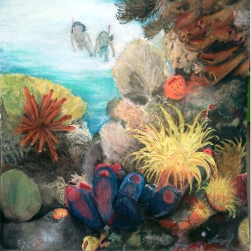 Corals in natural light - chalk & pencil