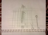 pencil field sketch digging tools