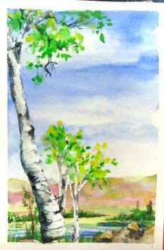Inspired by Lindsay Werich at TheFrugalCrafter.com https://youtu.be/6fvEzIZE_y0 Blue Skies and Birch tree tutorial.