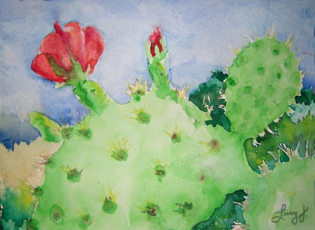 20140528 Prickly Pear Blossom Painting