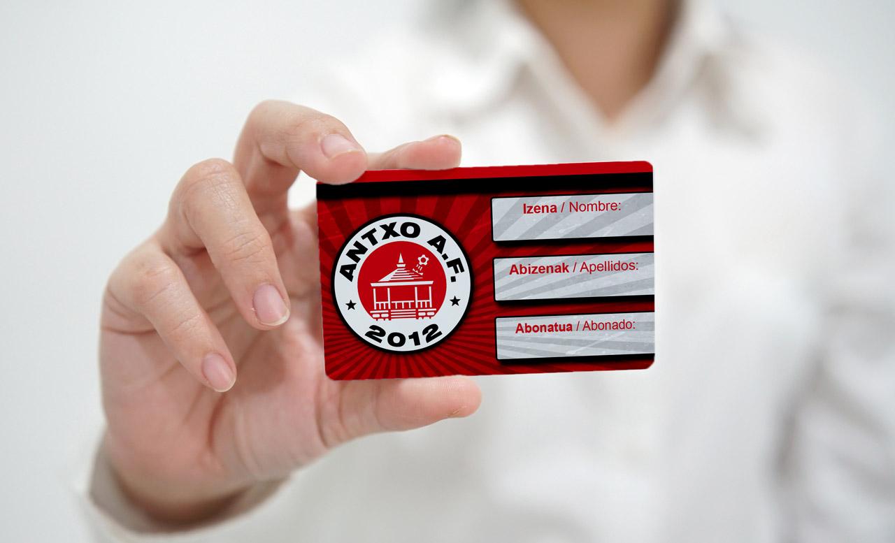 """Carnet de socio """"Antxo A.F."""" en tarjeta de PVC"""