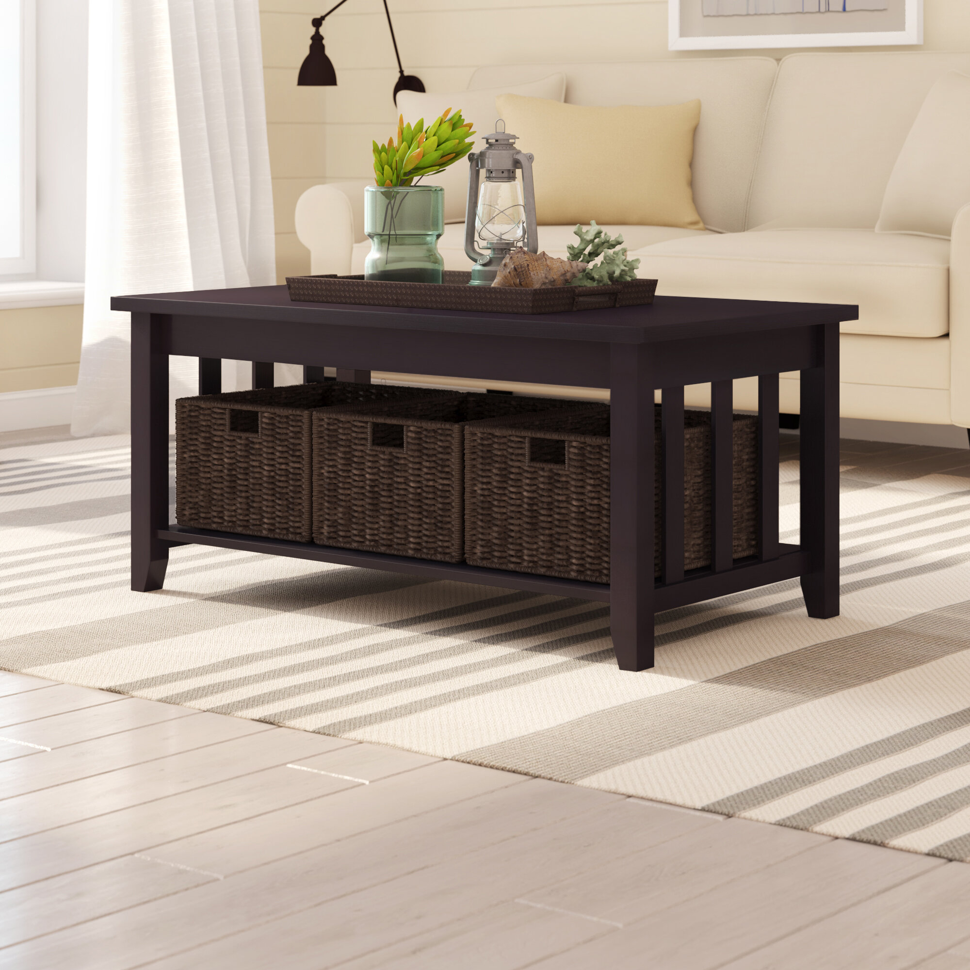 coffee table with storage baskets you