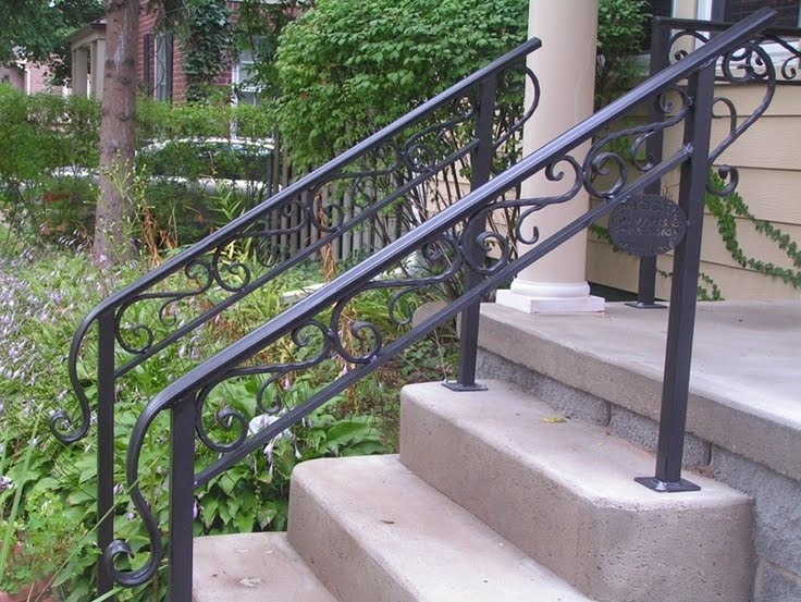50 Outdoor Metal Stair Railing Kits You Ll Love In 2020 Visual Hunt | Metal Railings For Outdoor Steps | Railing Ideas | Front Porch Railings | Concrete Steps | Wrought Iron Railings | Railing Kits