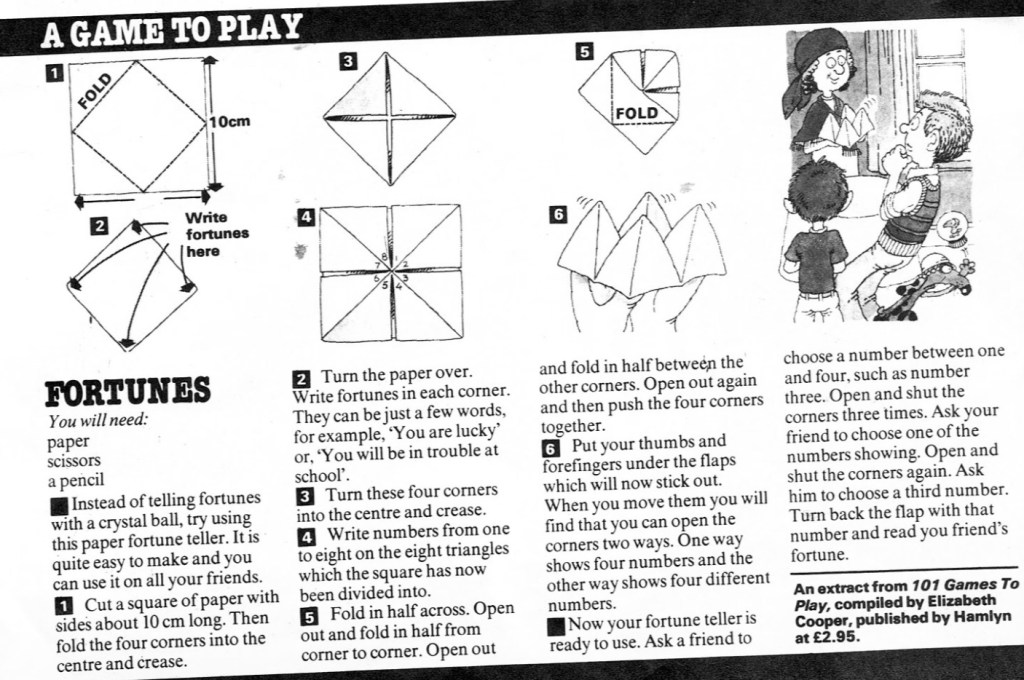 Instruction for Fortunes paper game