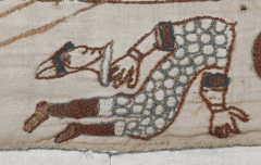 Detail of Bayeux tapestry, soldier with head chopped off