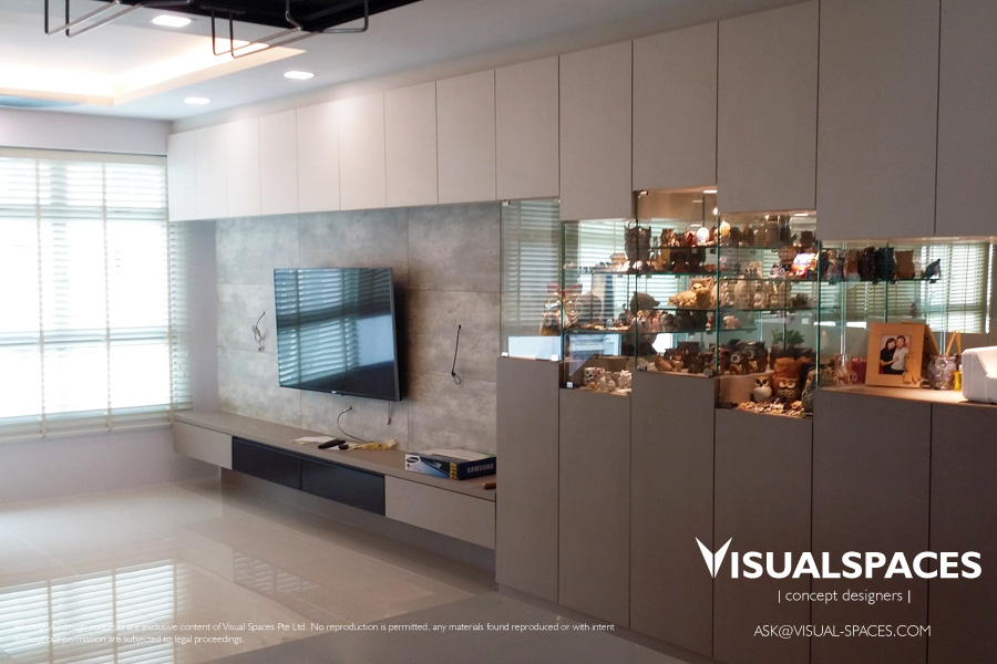 Living Area after renovation - Punggol Walk by Visual Spaces