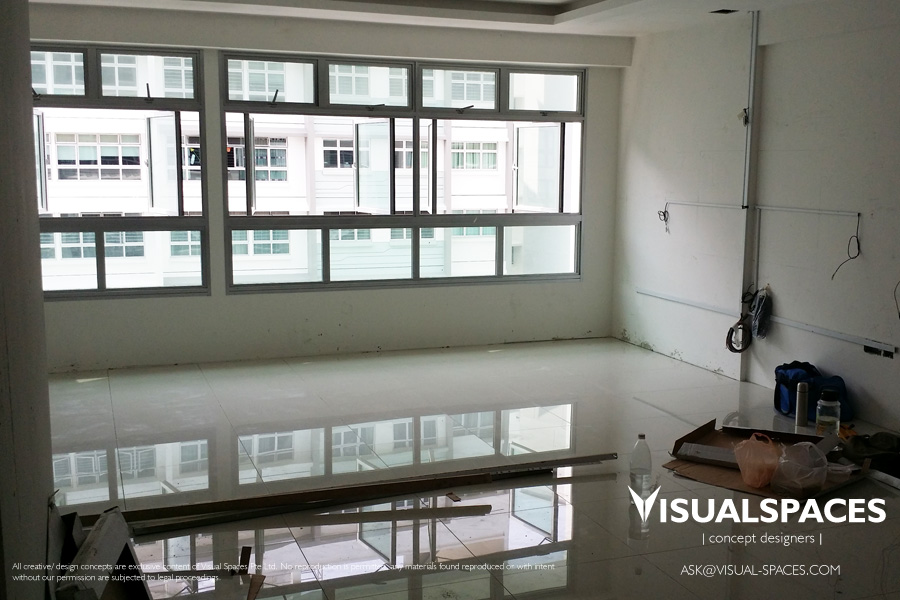 Living and Dining Area flooring after renovation - Punggol Walk by Visual Spaces
