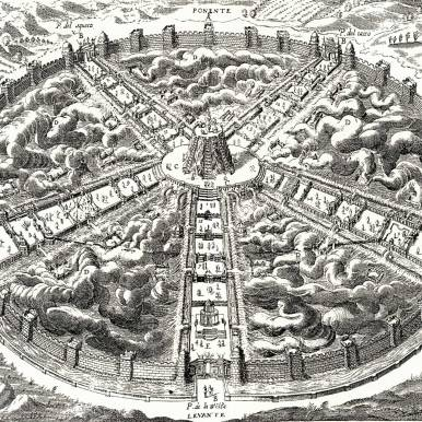 Civitas Veri, or City of Truth by Bartolomeo Del Bene. Source: http://www.santa-coloma.net/voynich_drebbel/utopias/utopias.html