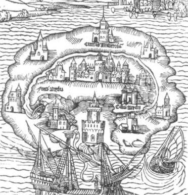 Illustration for the 1516 first edition of Utopia. The island of Utopia, surrounded by seas, with castles and buildings. Source: Wikipedia