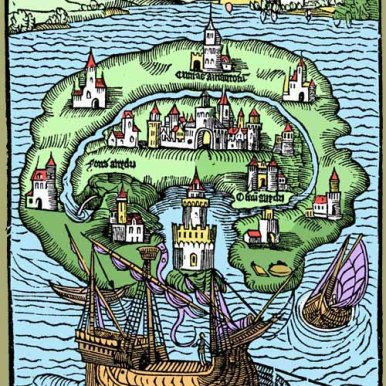 Reversioning of Thomas More's Map of Utopia. Source: http://discardstudies.com/2011/07/31/trashs-competing-utopias/