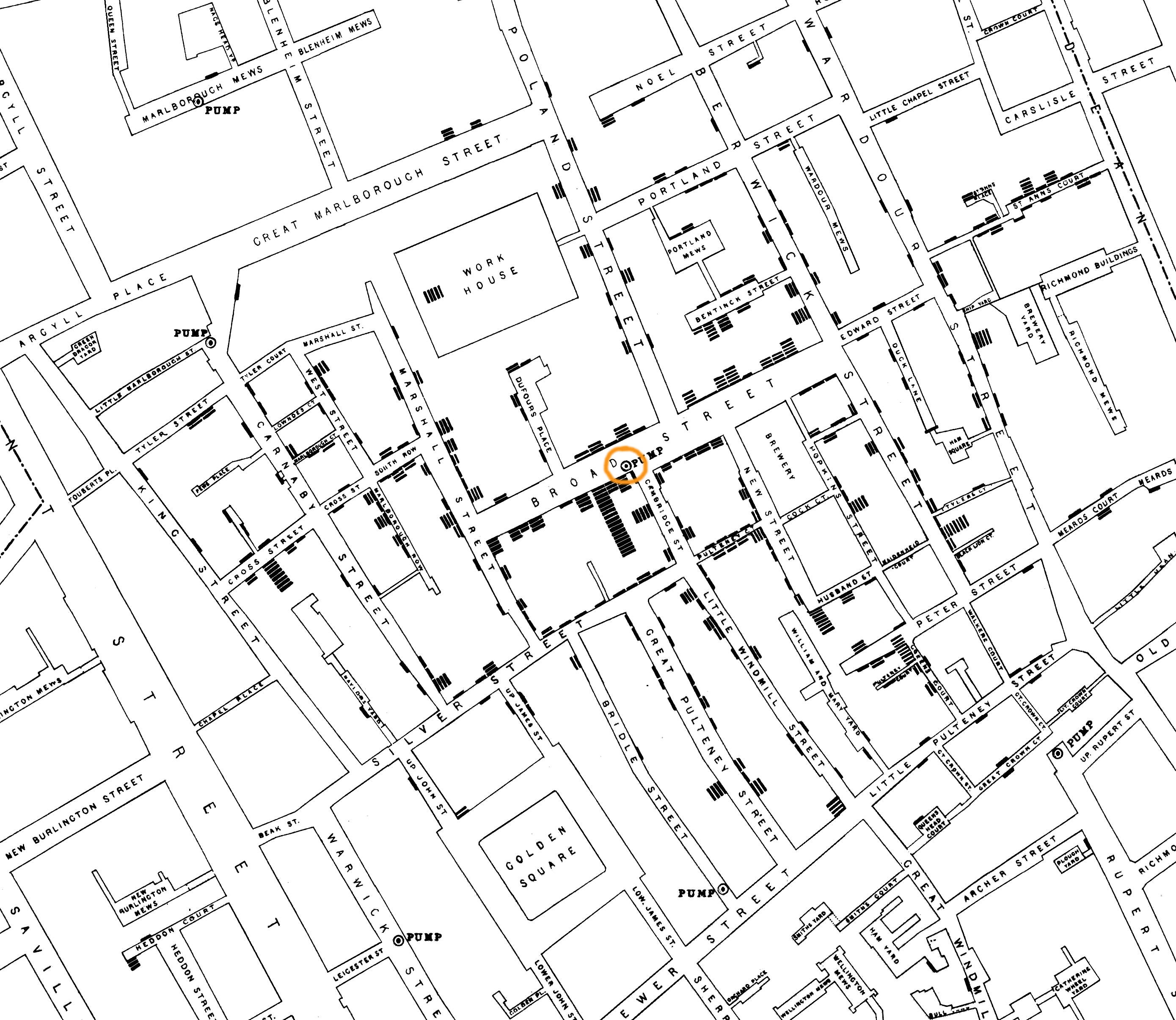 Cholera map, Broad street