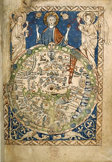 "The Psalter world map (c. 1250 AD) has dragons, as symbols of sin, in a lower ""frame"" below the world. British Library."