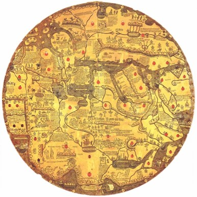 The Borgia map (c. 1430), in the Vatican Library, states, over a dragon-like figure in Asia (in the upper left quadrant of the map)