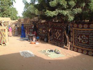 Bogolan cloth in market of Ende Mali