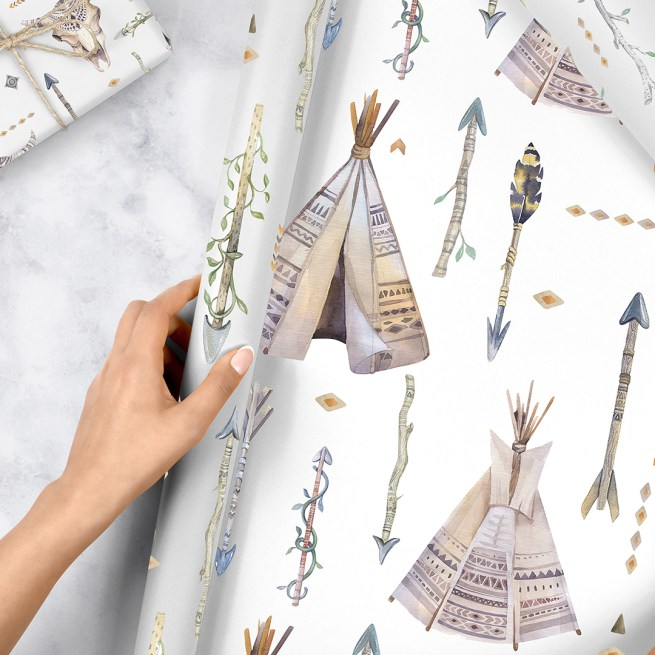BoHo Tribal Hand Painted Watercolour Wrapping Paper Free Printables