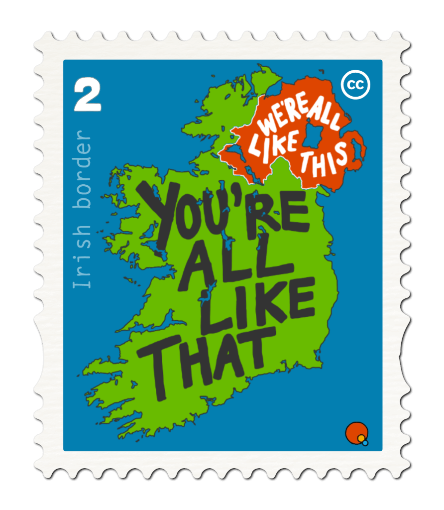 The Irish border in a postage stamp.