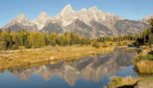 Tetons and the Snake River, in the Fall, Grand Teton National Park, Wyoming ...More