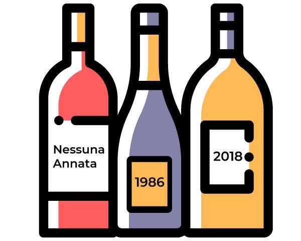 etichette del vino e annata