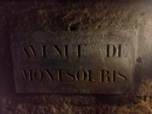 Plaques with names of underground streets in the catacombs
