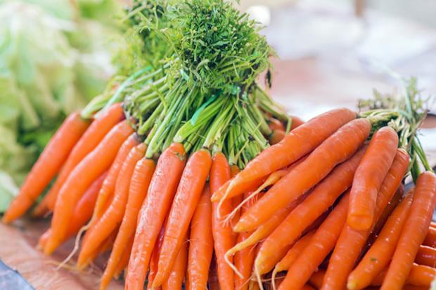 Carrots. Fresh organic carrots. Fresh garden carrots. Bunch of fresh organic carrots at market.