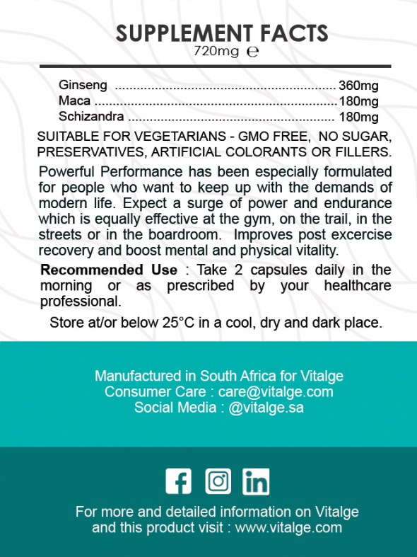 Powerful Performance Supplement Facts