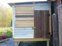 coop entrance is brown door on right. leftside is a window on top and nesting box access below that