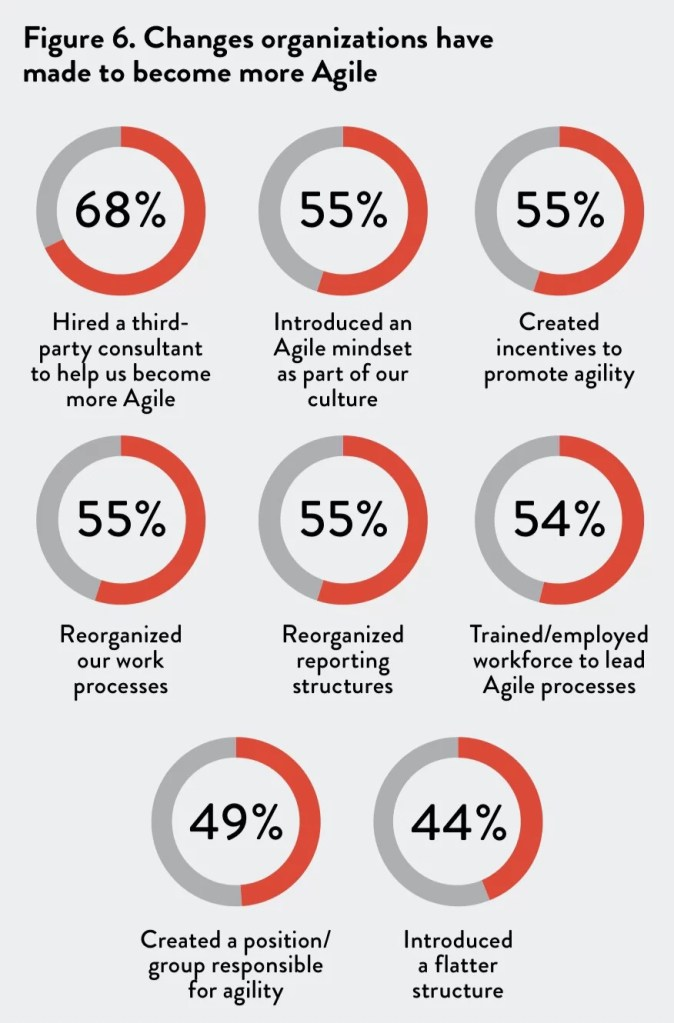 Changes organizations have made to become more agile; steps to be taken by your agile leader