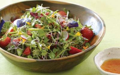 Microgreens Salad with Strawberry-Lime Vinaigrette